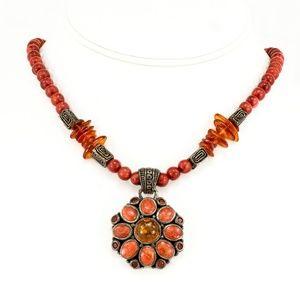 BARSE Orange Sponge Coral Sterling Bead Necklace
